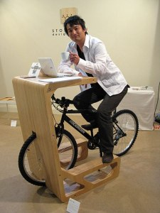 bicycle attached to work desk