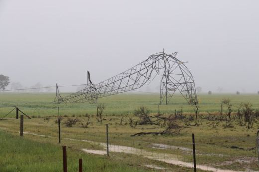 Fallen Power Pole during SA Storms 2016