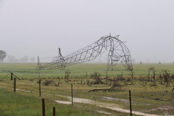 Fallen Power Pole during SA Storms 2016