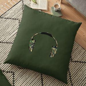 Army Headphones on Floor Pillow